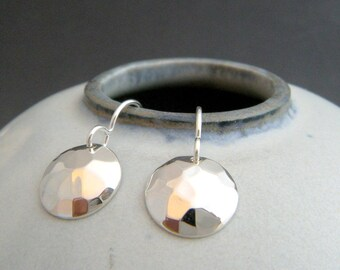 """small sterling silver hammered dome earrings simple circle drop hook leverback dangle everyday modern classic simple minimalist jewelry 1/2"""""""