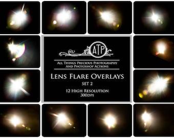 12 Fine Art Digital LENS FLARE Overlays Set 2