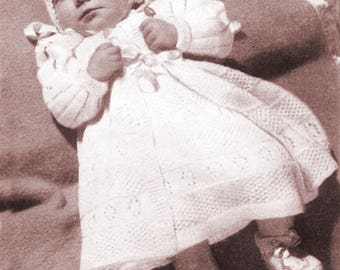 The Layette comprises Coat, Frock, Bonnet and Bootees/Instant PDF Digital Download Vintage Knitting Pattern-  541