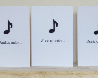 Set of 5 handmade A7 notecards - Just a Note