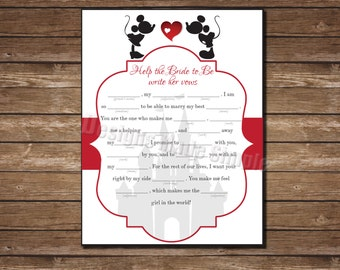 Disney Vow Writing Mad Libs Game with Mickey and Minnie Kissing - Printable - Cinderella Castle - Instant Download