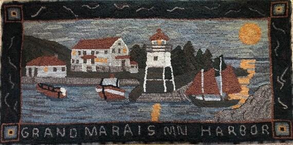 "Rug Hooking Pattern, Coast Guard Station, Grand Marais, MN Harbor , 24"" x 48"", P163"