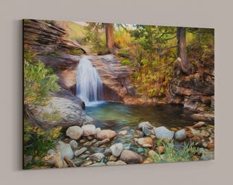 Exceptional Waterfall Photography Canvas Wrap   Nevada, Lamoille Canyon, Ruby Mountains  Landscape, Wall Art