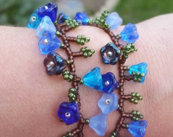 Bracelet, Whimsical, shades of blue, floral vine, bell flower double wrap bracelet. Beaded bracelet, handmade.
