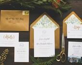 Rustic Botanical Garden Wedding Invitation: Letterpress and Gold Foil