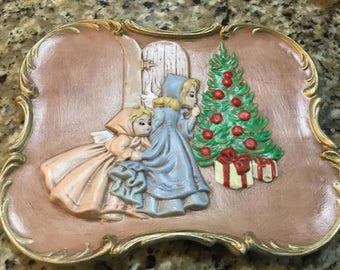 Vintage ceramic Christmas wall plaque. Hand painted.