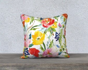 Floral and Citrus Pillow Cover - Modern Flowers Cushion Cover - Modern Decor - Floral Pillow Cover -18x18 or 20x14 - Decorative Pillow