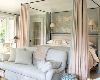French pleated drapes, contrast band, two 27W x 90L panels, fan pleats,