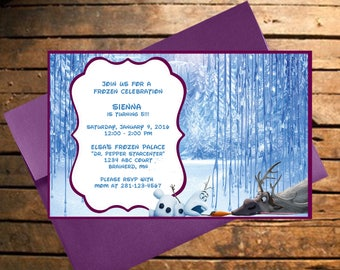 Downloadable Olaf Frozen Themed Birthday Invitation