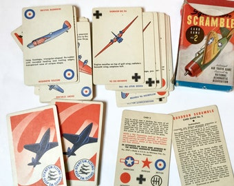 Vintage Squadron Scramble playing card game 40s era game 2