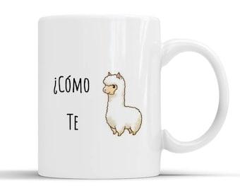Como te llamas pun, spanish funny gift, spanish gift, spanish pun, funny mug,funny coffee mug,sarcasm mug,sarcastic mug,humour mug,llama mug