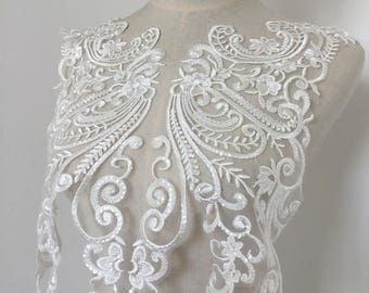 Luxury Sequined Alencon Lace Applique in Ivory, Bridal Gown Wedding Dress Lace Back Bodice Hem Trian