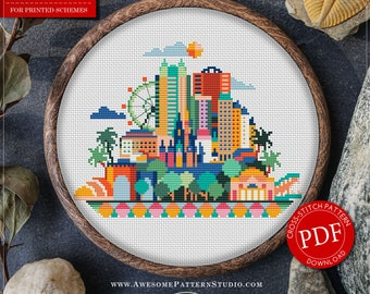 Orlando Cross Stitch Pattern for Instant Download *P136 | Easy Cross Stitch| Counted Cross Stitch|Embroidery Design| City Cross Stitch