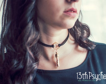 Hexagon choker necklace with glass bottle with golden leaf. glass bottle necklace.  black Suede Choker Necklace, Ring Choker, gift for women