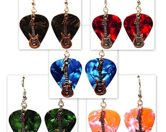 Electric Guitar Charm on Guitar Pick Earrings - Choose Color - Handmade in USA