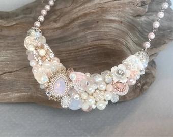 Blush Bridal Necklace- Pink Statement Necklace- Pearl Bridal Necklace- Soft Pink Bib Necklace- Pearl Wedding necklace- Blush Bridal Bib