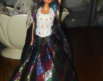 Halequin fabric skirt with white knitted top attached, harlequin cloak to match outfit for barbie dolls and similar  1039   cjh41