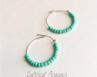 Beaded earrings, boho, aqua earrings, blue, aqua, hoop earrings, hoops, silver hoops, bead earrings
