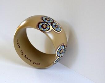 Hand Painted Sandy Tan Bold Bracelet