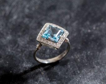 Blue Topaz Ring, Natural Blue Topaz, Topaz Engagement Ring, Vintage Topaz Ring, Vintage Ring, Topaz Ring, December Birthstone, Silver Ring