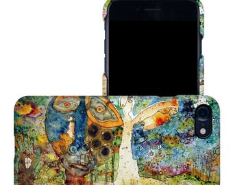 Blue face psychedelic mixed media art iPhone 7 clip case abstract iphone case modern art phone cases iPhone 6 plus abstract iphone cases art