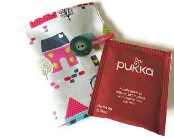 Wallet - Fabric Tea Bag Holder - Wallet for Tea Bags - Card Wallet - Tea Bag Wallet - Teabag Wallet - Teabag Case