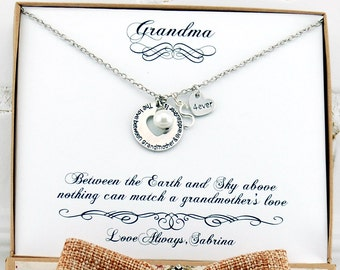 Grandma Gifts For Personalized Grandmother Gift Necklace Granddaughter Grandson Birthday