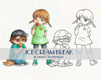 Digital Stamps Ice Cream Break, Digi Download, Boy Girl Coloring Page, Spring Summer, Kids Children, Clip Art Scrapbooking Supplies
