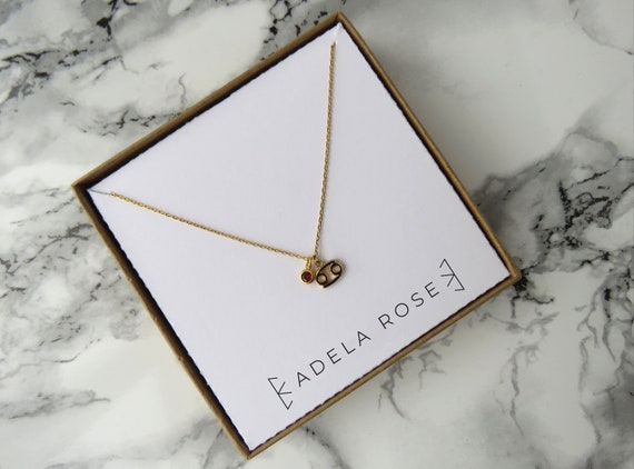 Zodiac Sign Necklace with Birthstone, Astrology Necklace, Dainty Necklace, Pendant Necklace, Charm Necklace, Everyday Jewelry, Gifts for Her