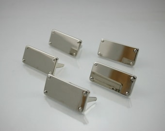 Blank Metal Name Tags Metal Labels Luggage Tags Studs Silver Tone 14x31 mm. N 0196 10 pcs.