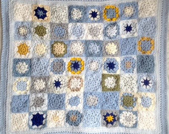 Blue Crocheted Baby Blanket-  Boy or Girl- Made To Order- Hand Crochet- Baby Afghan- Crib Blanket- Blues, Grey, Yellow, White