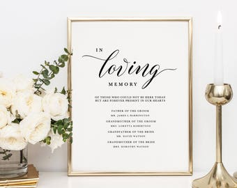 In Loving Memory Sign Template, Memorial Table Sign, Wedding Memorial Sign, Forever In Our Hearts Sign, Printable Memory Sign - KPC04_306