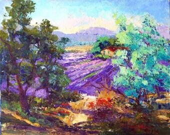 Original oil landscape painting, Provence Landscape Painting, Palette Knife oil painting, Looking Through to the Lavender  Impressionist art