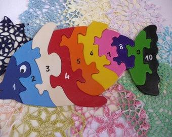 Handmade multicolored fish puzzle