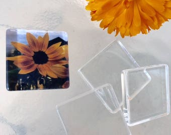 1 inch 20 Clear Flat Smooth Glass Tiles Squares Pendant Making 25mm Art Cabochons Jewelry Add Picture Under Glass Transparent