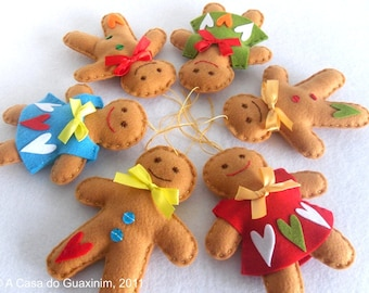 Set of 3 Gingerbread Couple - Christmas ornaments