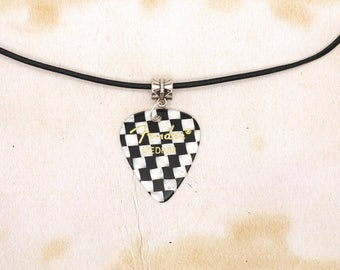 Fender Checker Guitar Pick On Real Black Leather Thong Necklace