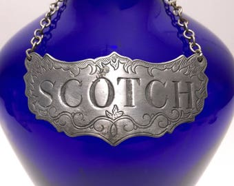 Vintage Scotch Decanter Label / Newport Style Gin Liquor Tag by Stieff