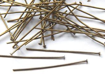 100 nail head studs flat metal bronze 38mm