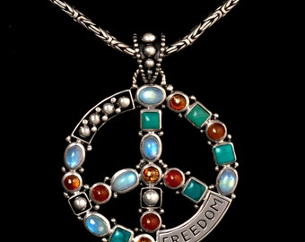 Peace sign pendant etsy silver gemstone peace sign necklace sterling silver peace sign necklace moonstone turquoise peace sign audiocablefo