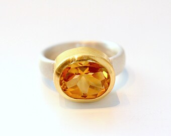 Citrine Ring made of 900ER gold and silver