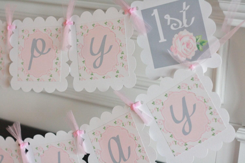 Happy Birthday Pink White Grey Shabby Chic Vintage Rose Flower