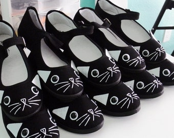 Cat Shoes - Embroidered Kitty Flats Mary Janes - SIZE 9