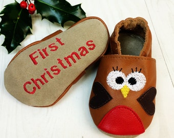Personalised Robin Christmas Baby Shoes