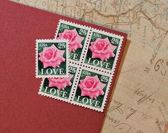 Ten 25c Pink Rose Love .. Vintage Unused US Postage Stamps .. Wedding Postage, Valentine's Day, Nature, Flowers