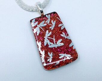 Dichroic Silver Dragonfly Pendant, Fused Glass Jewelry, Copper Silver Dragonfly Necklace
