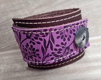 Leather Wrap Women's Bracelet Cuff, Florance Print in Brown & Purple, Adjustable Size