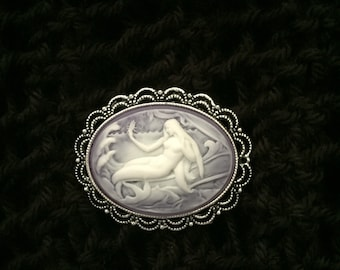 Mermaid Cameo Magnetic Sweater Clip, Shawl Brooch,Pin-Lavender