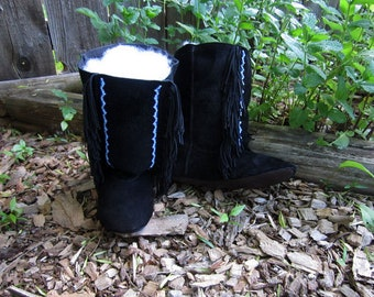 Deer-tan leather Black Moccasin Boots