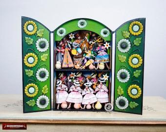"Large Retablo Folk Art Sculpture ""Carnival of Huamanga""- Wood Peruvian Retablo - Collectible Peruvian Ornaments - Wood Multicolor Diorama"